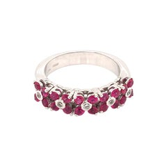 0.86 Ruby and Diamonds Half Band White Gold Italy with Box