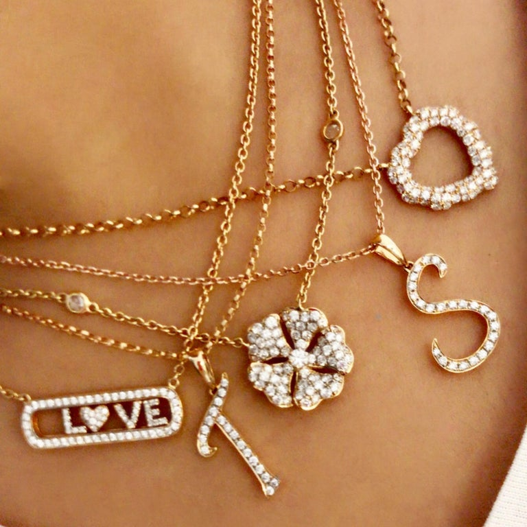 Women's or Men's 0.87 Carat Diamond 18 Karat Rose Gold Heart Shape Pendant Necklace For Sale