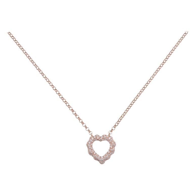 0.87 Carat Diamond 18 Karat Rose Gold Heart Shape Pendant Necklace For Sale