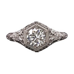 0,87 Carat Diamond Engagement Vintage Style Ring