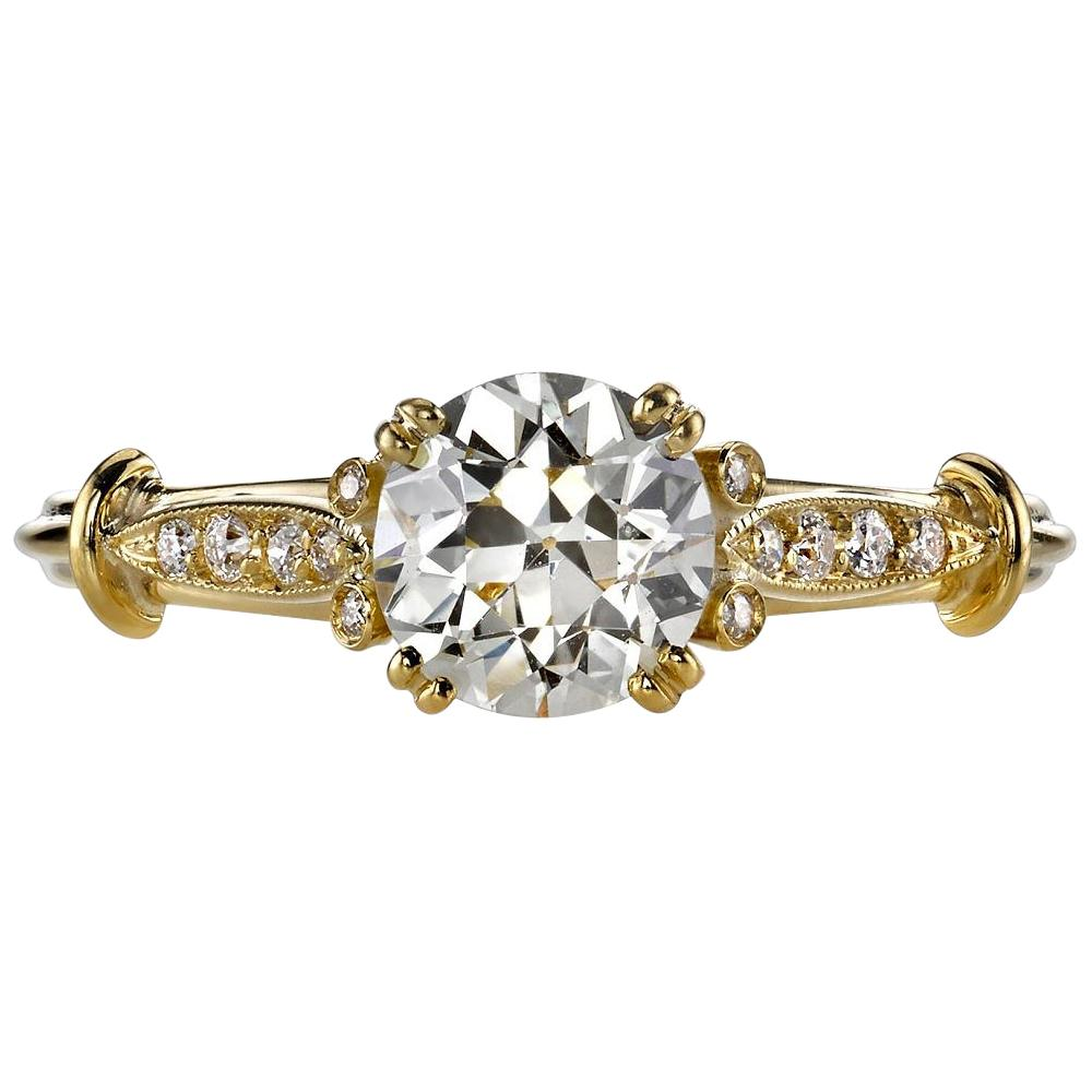 0.87 Carat Old European Cut Diamond Set in a Yellow Gold Engagement Ring