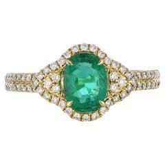 0.87 Carat Emerald Ring with Diamonds in 18 Karat Yellow Gold