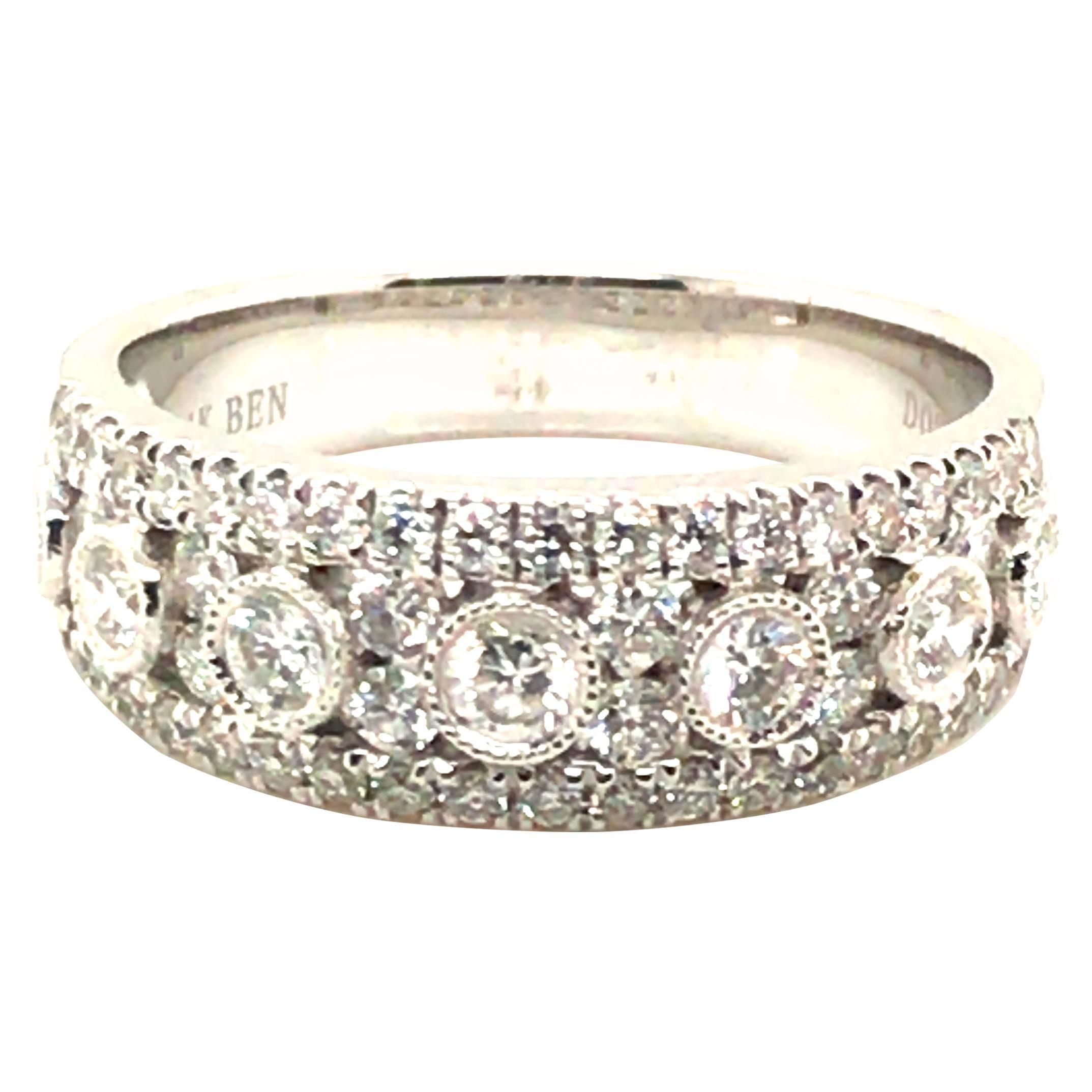 0.87 Carat Fashion Diamond Band Ring with 14 Karat White Gold