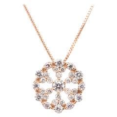 0.87 Carat Natural Diamond Chain Pendant Set in 18 Karat Rose Gold