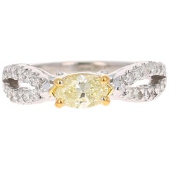 0.87 Carat Natural Fancy Yellow Diamond Engagement Ring 14 Karat White Gold