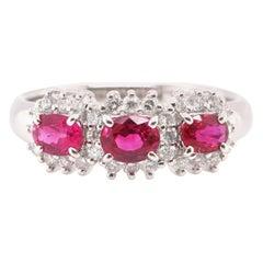 0.87 Carat Natural Ruby and Diamond Band Ring Set in Platinum
