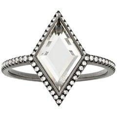 Eva Fehren 0.87 Carat Portrait Cut Diamond Ring in 18 Karat Blackened White Gold