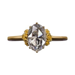 0.87 Ct Rose Cut Oval Diamond E SI2 Floral Solitaire Yellow Gold Engagement Ring