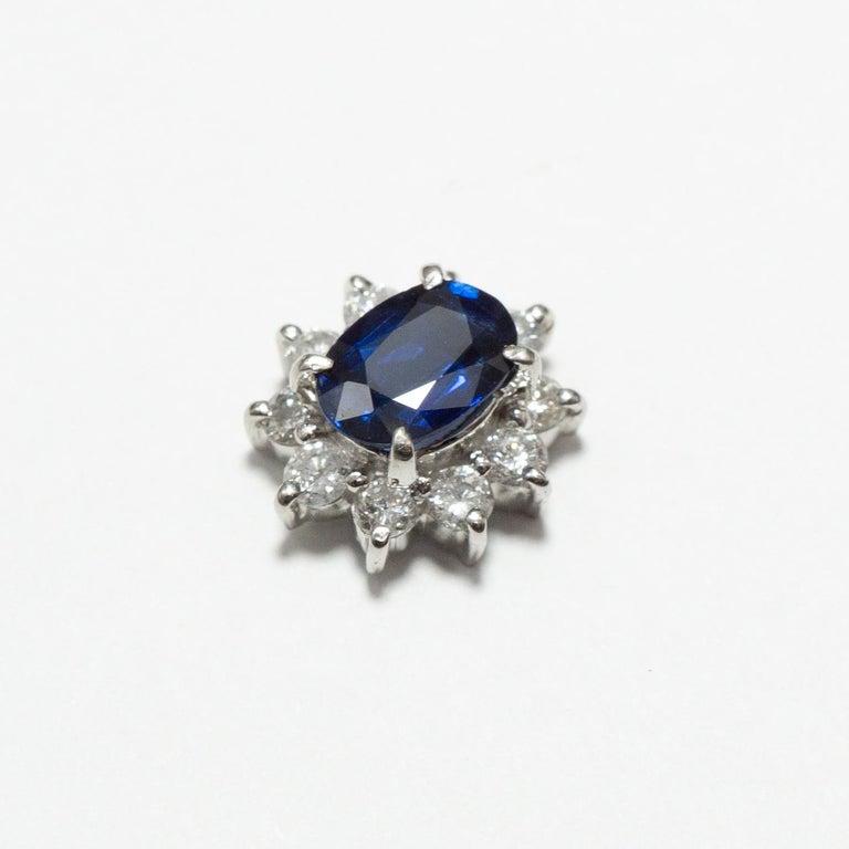 Round Cut 0.870 Carat Sapphire 0.350 Carat Diamond Platinum Line Ring
