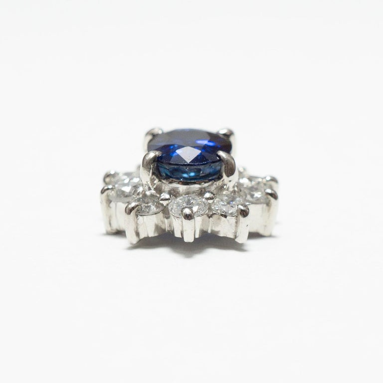 Women's or Men's 0.870 Carat Sapphire 0.350 Carat Diamond Platinum Line Ring