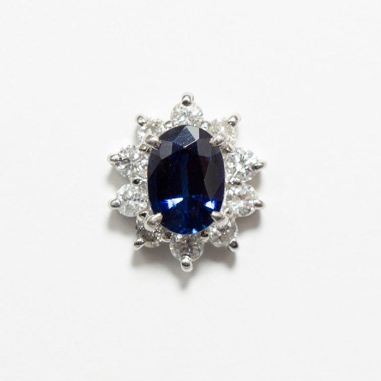 0.870 Carat Sapphire 0.350 Carat Diamond Platinum Line Ring 1