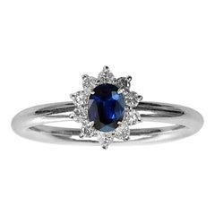 0.870 Carat Sapphire 0.350 Carat Diamond Platinum Line Ring