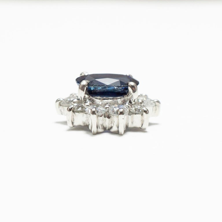 Women's or Men's 0.870 Carat Sapphire 0.350 Carat Diamond Platinum Wide Band Ring