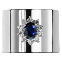 0.870 Carat Sapphire 0.350 Carat Diamond Platinum Wide Band Ring