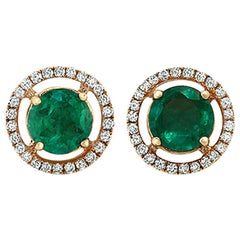 0.88 Carat Colombian Emerald and 0.20 Carat Diamonds in 18K Gold Stud Earrings