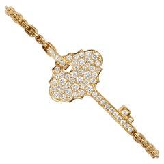 0.88 Carat Diamond 18 Karat Yellow Gold Key Stackable Bracelet Bangle