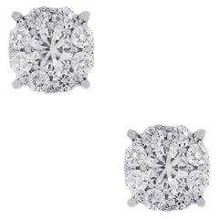 0.88 Carat Diamond Cluster Earrings