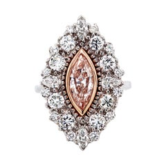 0.88 Carat Marquise Cut Pink Diamond GIA Certified Ring White Gold Ring