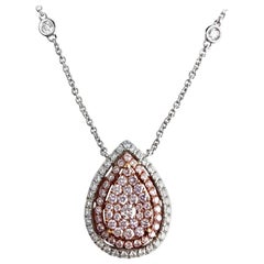 0.88 Carat Natural Pink and White Diamond Pendant in 18k White and Pink Gold