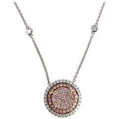 0.88 Carat Natural Pink and White Round Diamond Pendant in 18 Karat Gold
