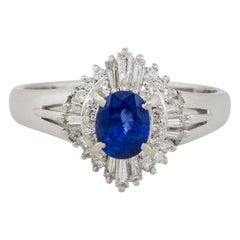 0.88 Carat Oval Sapphire Center Diamond Cocktail Ring Platinum in Stock