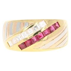 0.88 Carat Ruby Diamond 18 Karat Yellow White Rose Gold Band Ring