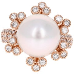 0.88 Carat South Sea Pearl Diamond Cocktail Rose Gold Ring
