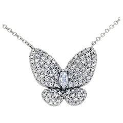 0.89 Carat 14 Karat White Gold Pave Set Butterfly Necklace