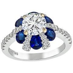 0.89 Carat Diamond Sapphire Engagement Ring