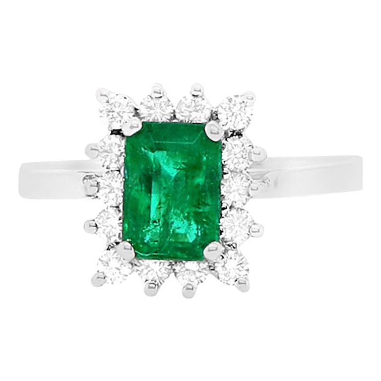 0.89 Carat Emerald Engagement Ring with Diamonds