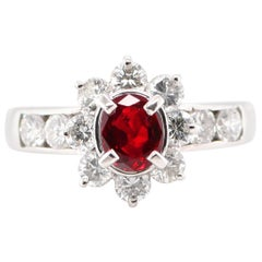 0.89 Carat Natural Ruby and Diamond Halo Ring Set in Platinum