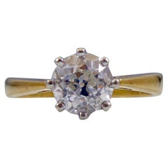 0.89 Carat Old European Cut Diamond Solitaire Engagement Ring