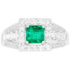 0.89 Carat Princess Cut Emerald and 1.13 Carat White Diamond Ring