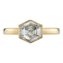 0.89 Carat Step Cut Diamond Set in a Handcrafted 18 Karat Yellow Gold Ring