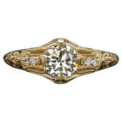 0.89 Ct Old European Cut Diamond Engagement Ring Vintage Set in 14k Yellow Gold