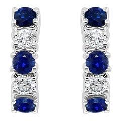 0.9 Carat Natural Blue Sapphire and 0.55 Carat Diamond Earrings 18 Karat Gold