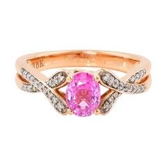 0.9 Carat Pink Sapphire Ring with Diamond in 18 Karat Rose Gold