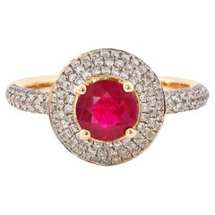 0.9 Carat Ruby and White Diamond Ring in 14 Karat Yellow Gold