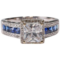 New Art Deco 0.17 Ct Diamond Sapphire Solitaire 18k White Gold Engagement Ring