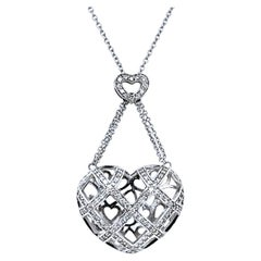 0.90 Carat 14 Karat Pave Set Puffed Heart Pendant Necklace