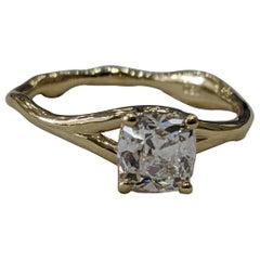 0.90 Carat 14 Karat Yellow Gold Cushion Diamond Ring, Branch Diamond Ring