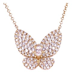 0.90 Carat 14 Karat Yellow Gold Pave Set Butterfly Necklace