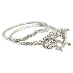 0.90 Carat Diamond 14 Karat Gold Semi-Mount Engagement Two-Piece Ring Set