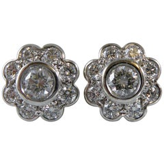 0.90 Carat Diamond Daisy Earrings, Cluster Style Studs, 18 Carat White Gold