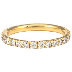 0.90 Carat Diamond Eternity Band 18 Karat Yellow Gold Size 5