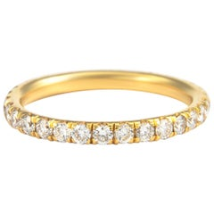 0.90 Carat Diamond Eternity Band 18 Karat Yellow Gold Size 5.5