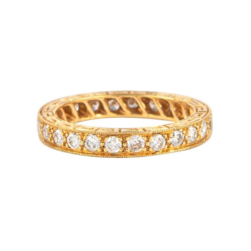 0.90 Carat Diamond Eternity Band 18 Karat Yellow Gold