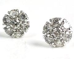 0.90 Carat Diamond Flower Earring in 14k White Gold