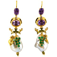 0.90 Carat Emerald Amethyst Pearl 0.16 Carat White Diamond Yellow Gold Earrings