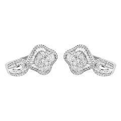 0.90 Carat Natural Diamonds 18 Karat White Gold Earrings